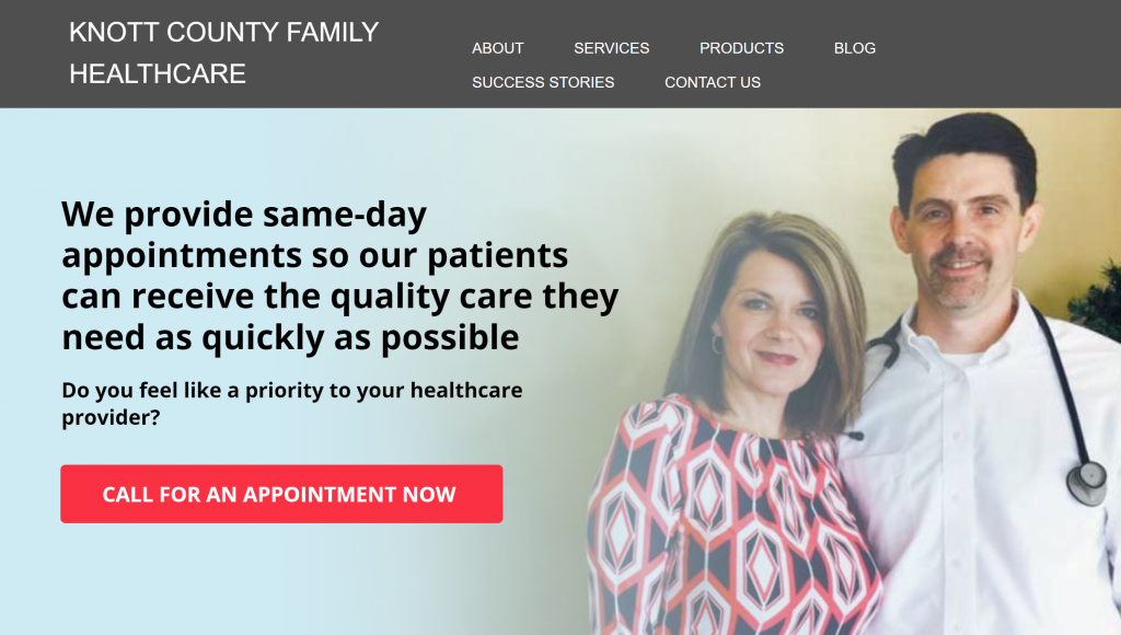 Storybrand website examples - Knott County Family Healthcare